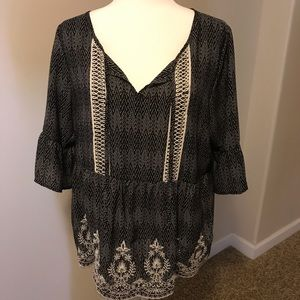 Maurices Embroidered Peasant Blouse